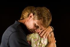 Emotional embrace royalty free stock photos