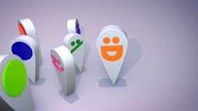 Emotional Emoticon Figures Entertain. A witty 3d illustration of smiling multicolored emoticons looking like large drops and following one another happily in the royalty free illustration