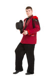 Emotional Entertainer in Red Suit and Silk Hat Royalty Free Stock Image