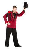 Emotional Entertainer in Red Suit and Silk Hat. Isolated on white background Royalty Free Stock Photos