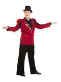 Emotional Entertainer in Red Suit and Silk Hat. Isolated on white background Stock Photo