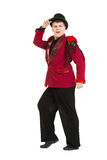 Emotional Entertainer in Red Suit and Silk Hat Stock Images