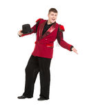 Emotional Entertainer in Red Suit and Silk Hat. Isolated on white background Royalty Free Stock Photo