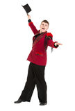 Emotional Entertainer in Red Suit and Silk Hat. Isolated on white background Royalty Free Stock Photography
