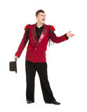 Emotional Entertainer in Red Suit and Silk Hat Royalty Free Stock Photo