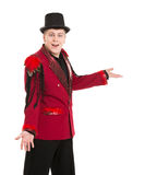 Emotional Entertainer in Red Suit and Silk Hat. Isolated on white background Stock Image