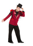Emotional Entertainer in Red Suit and Silk Hat. Isolated on white background Royalty Free Stock Image