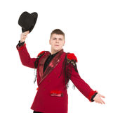 Emotional Entertainer in Red Suit and Silk Hat. Isolated on white background Royalty Free Stock Images