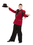 Emotional Entertainer in Red Suit and Silk Hat Stock Photography