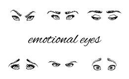Emotional eyes and brows Royalty Free Stock Photos