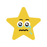 Emotional face star cry. Emotional star cry. Vector illustration smile icon. Face emoji yellow icon. Smile cute funny emotion face isolated background Royalty Free Stock Photos