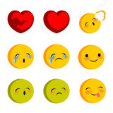 Emotional faces cry sick funny smiles set Royalty Free Stock Photo