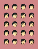 Emotional faces set. Set of woman's faces with different emotions, flat style illustration Royalty Free Stock Images