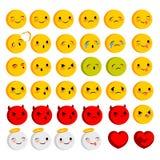Emotional faces smiles big set Stock Photography