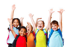Emotional friends. Group of emotional friends with their hands raised royalty free stock photos
