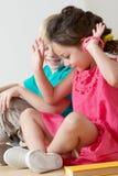 Emotional friends. In Kindergarten. Childhood Royalty Free Stock Photo