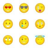 Emotional funny face icons set, cartoon style. Emotional funny face icons set. Cartoon illustration of 9 emotional funny face vector icons for web Stock Photography