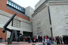 Emotional gathering while visitors wait to go inside, United States Holocaust Memorial Museum,Washington,DC,2015 Royalty Free Stock Photos