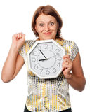 Emotional girl with the clock Royalty Free Stock Photo