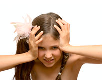 Emotional girl close her ears Stock Image