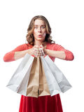 Emotional girl doing shopping Royalty Free Stock Photography