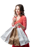 Emotional girl doing shopping Royalty Free Stock Photos