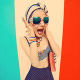 Emotional Girl marine style. Crazy vacation party Stock Photography
