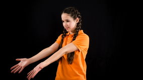Emotional girl in orange clothes, stop motion animation stock video