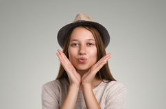 Positive casual woman posing. Emotional girl portrait. Young fem Royalty Free Stock Photos