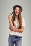 Positive casual woman posing. Emotional girl portrait. Young fem Stock Photos