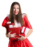 Emotional girl with presents Royalty Free Stock Photography
