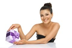 Emotional Girl with violet present. stock photos