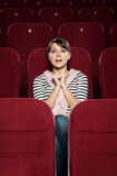 Emotional girl watching a movie stock photos