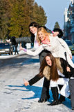 Emotional girls on street Stock Images