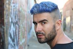 Emotional glamorous urban blue hair disco punk fashion style Stock Image