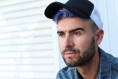 Emotional glamorous urban blue hair disco punk fashion style stock photos