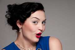 Emotional glamour woman with red lips. Vogue Stock Photo