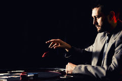 Emotional high stakes poker player stock images