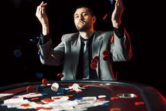 Emotional high stakes poker player stock image