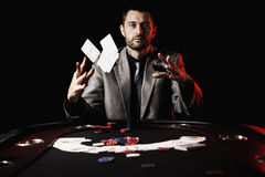 Emotional high stakes poker player Stock Photos