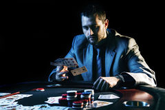 Emotional high stakes poker player Royalty Free Stock Photos