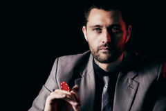 Emotional high stakes poker player Stock Photo