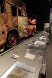 Emotional image of fire truck and other items recovered from terror attacks, State Museum, New York, 2016 Stock Image
