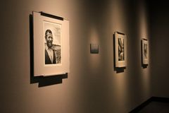 Matted and framed images of victims in WWII, United States Holocaust Memorial Museum, Washington, DC, 2017. Emotional images of victims who perished through the royalty free stock images