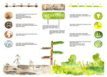 Emotional infographic. Watercolor infographic showing people emotions, happiness, depressions depend on different facts, compare infographic Royalty Free Stock Images