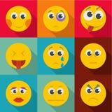 Emotional instability icons set, flat style. Emotional instability icons set. flat set of 9 emotional instability icons for web isolated on white background royalty free illustration