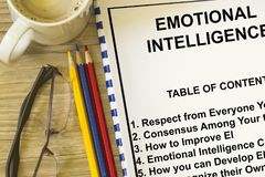 Emotional Intelligence concept. With topics on a cover sheet of a lecture Stock Images