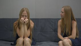 Emotional intelligence concept. On one side of a young woman feeling upset and confused on the other side of the image
