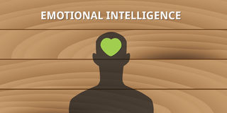 Emotional intelligence human head with love symbol Stock Photos