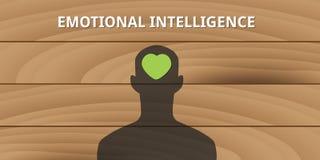 Emotional intelligence human head with love symbol Stock Photos
